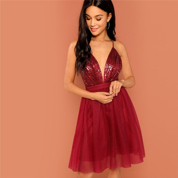Burgundy Sexy Party Backless Sequin Detail Dress