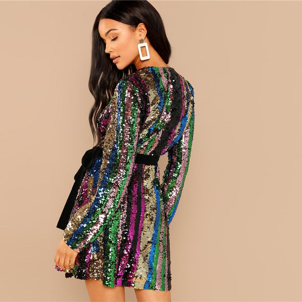 Color Block Wrap Sequin Sexy Dress