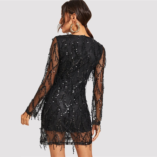 Black Sheer Mesh Fringe Overlay Sequin Party Dress