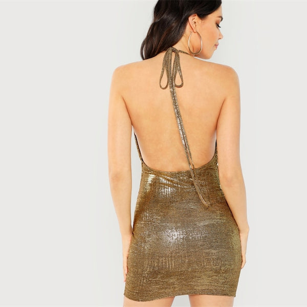 Gold Solid Halter Backless Draped Sexy Dress