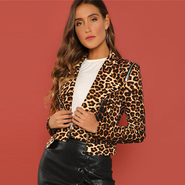 Leopard Print Asymmetric Zip Biker Crop Winter Jacket
