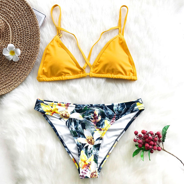 Yellow Floral Print And Solid Cross Bikini Set