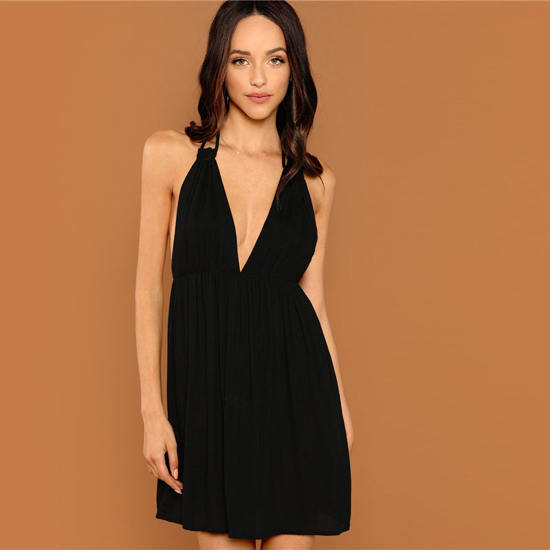 Halter V-Neck Backless Knot Sexy Dress