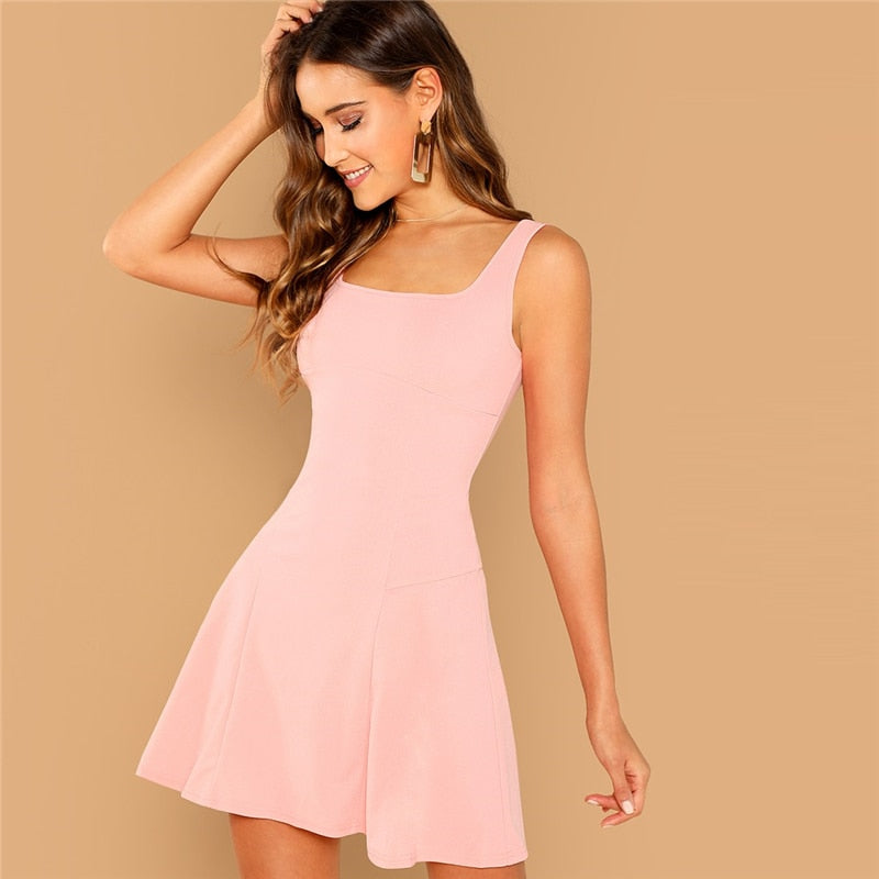 Pink Party Solid Fit And Flare Straps Neck Short Dress