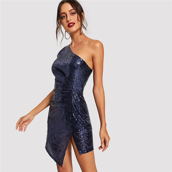 Blue Solid One Shoulder Sexy Winter Sequin Dress