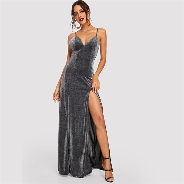 Grey Sleeveless Slit Glitter Bodice Cami Party