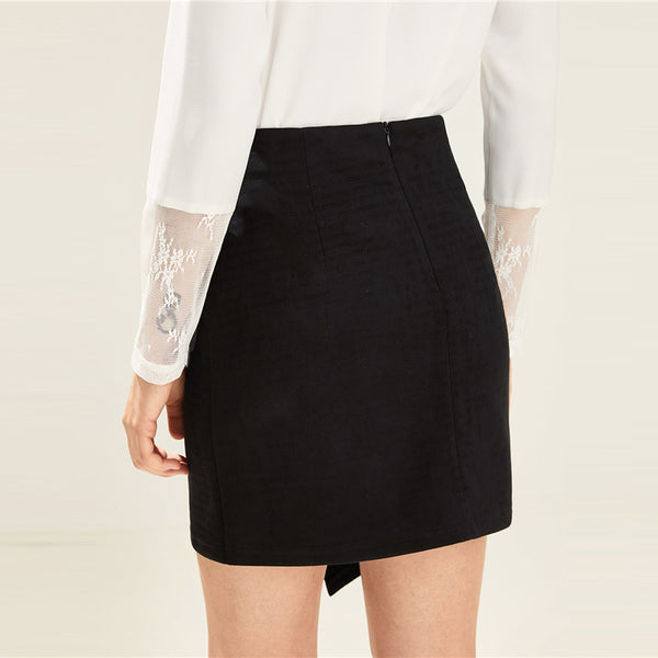 Asymmetrical Solid Black Skirt
