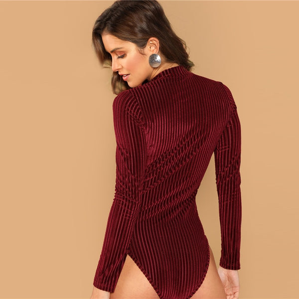 Burgundy Mock-Neck Cord Stand Collar Bodysuit