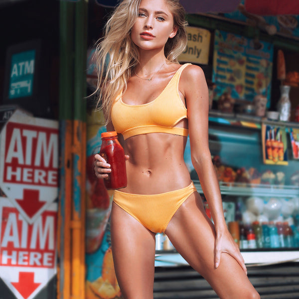 Yellow Feather Yarn Solid Bikini Set