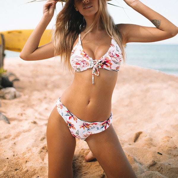 Floral Print And Striped Reversible Bikini Set