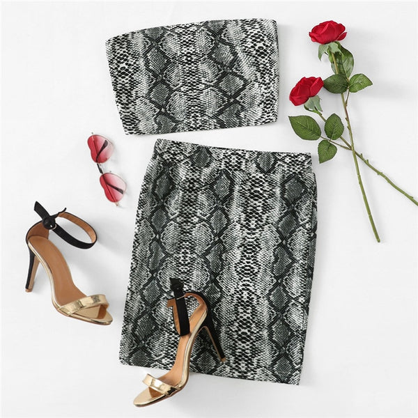 Snake Print Off the Shoulder Bandeau Top And Skirt