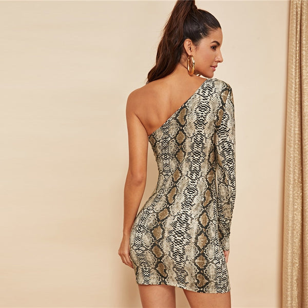 One Shoulder Snake Pattern Bodycon Dress