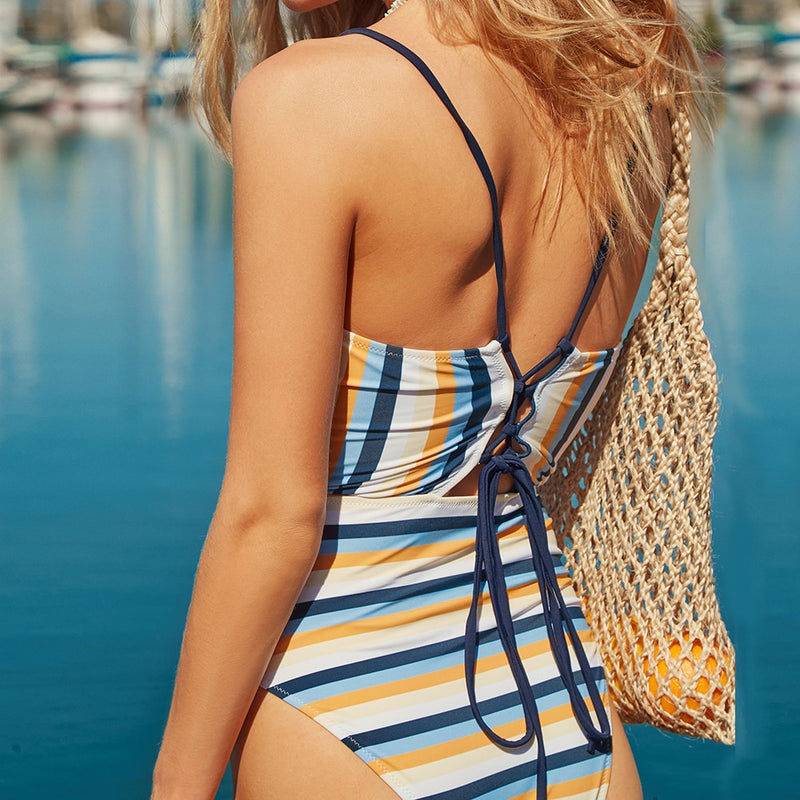 Blue And Yellow Stripe High Leg Cut One-piece