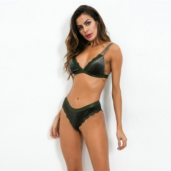 Green Solid Lace Trim Sexy Lingerie Set