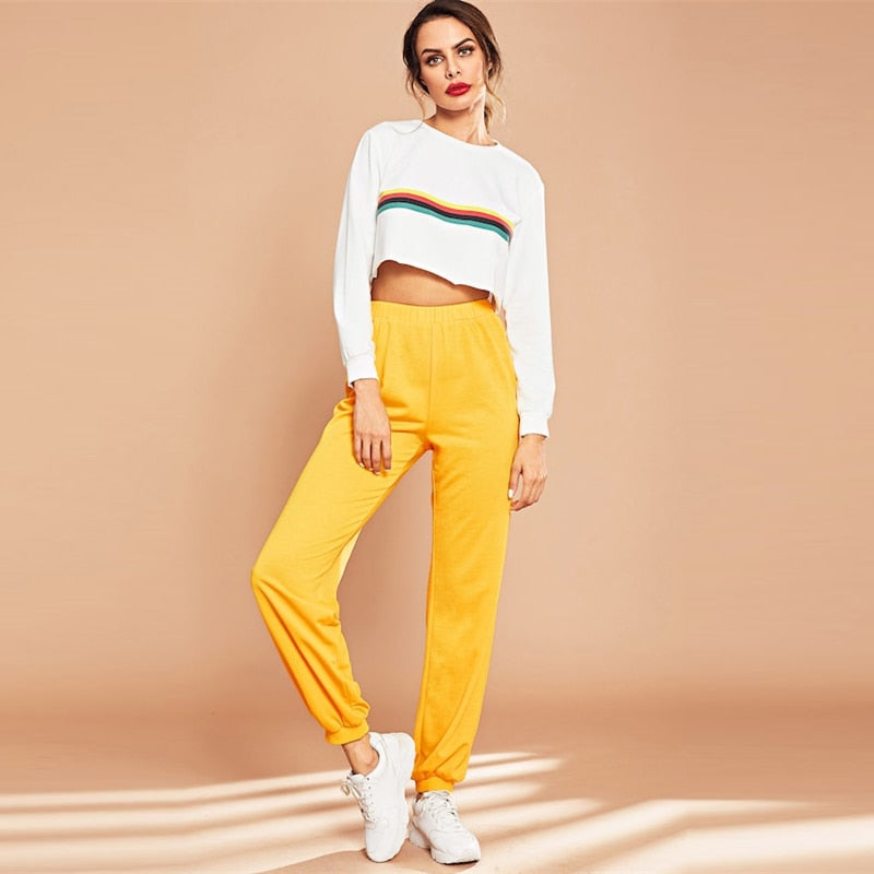 Yellow Elastic Waist Solid Loose Tapered Carrot Pants
