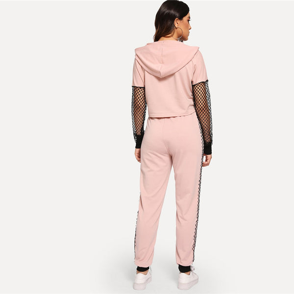Pink Fishnet Sleeve Lace Up Hoodie & Sweatpants