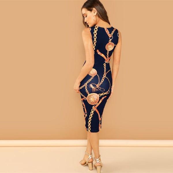 Navy Chain Print Tank Elegant Bodycon Dress
