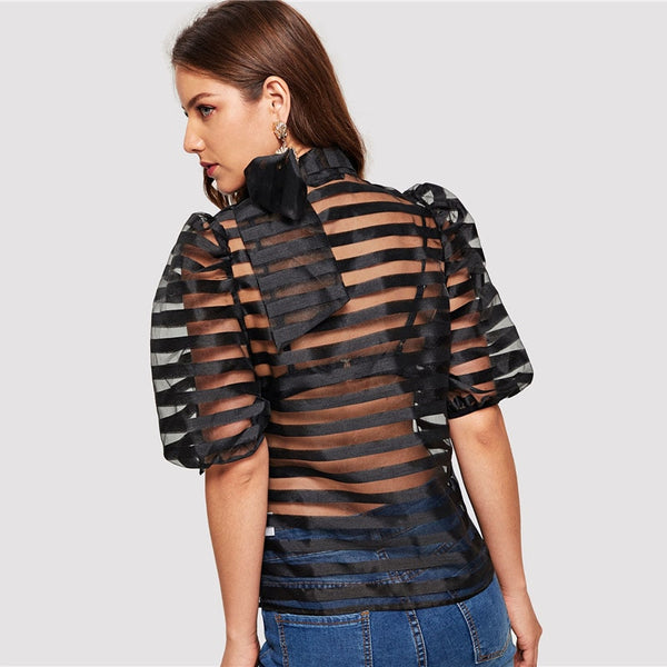 Black Tie Neck Puff Sleeve Striped Sheer Top
