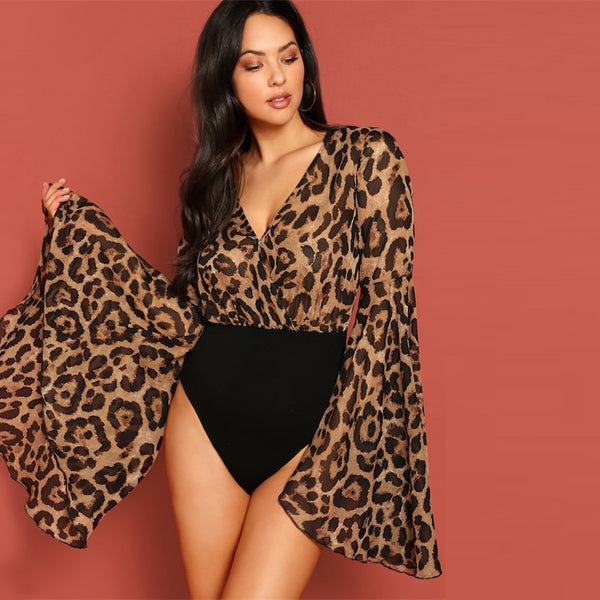 V Neck Exaggerated Bell Sleeve Leopard Print Bodysuit