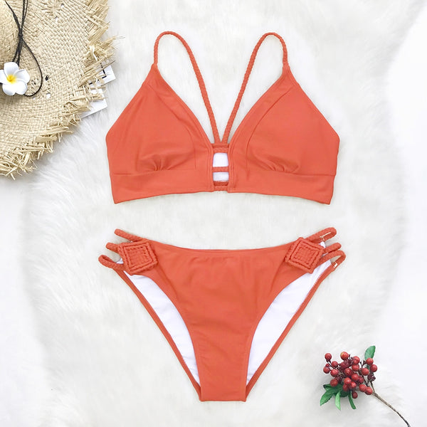 Orange Braided Strap Bikini Set