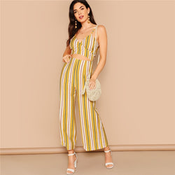 Boho Multicolor Striped Crop Wrap Cami and Wide Leg Pants