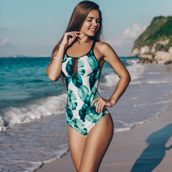 Tropical Leaves Lace-Up One-Piece