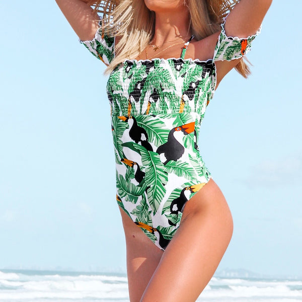 Green Leaves And Parrots Off Shoulder One Piece