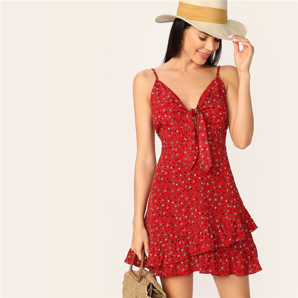 Red Knot Front Ditsy Floral Print Ruffle Dress