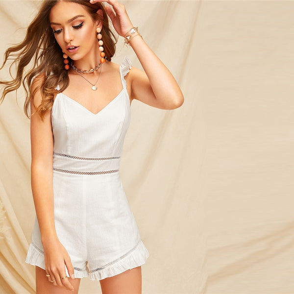 White Lace Insert Ruffle Detail Cami Playsuit