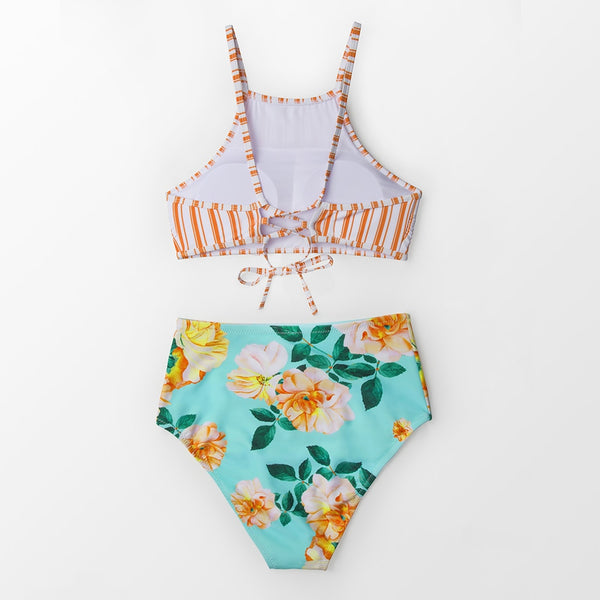 Orange Stripe And Floral High Waisted Bikini Set