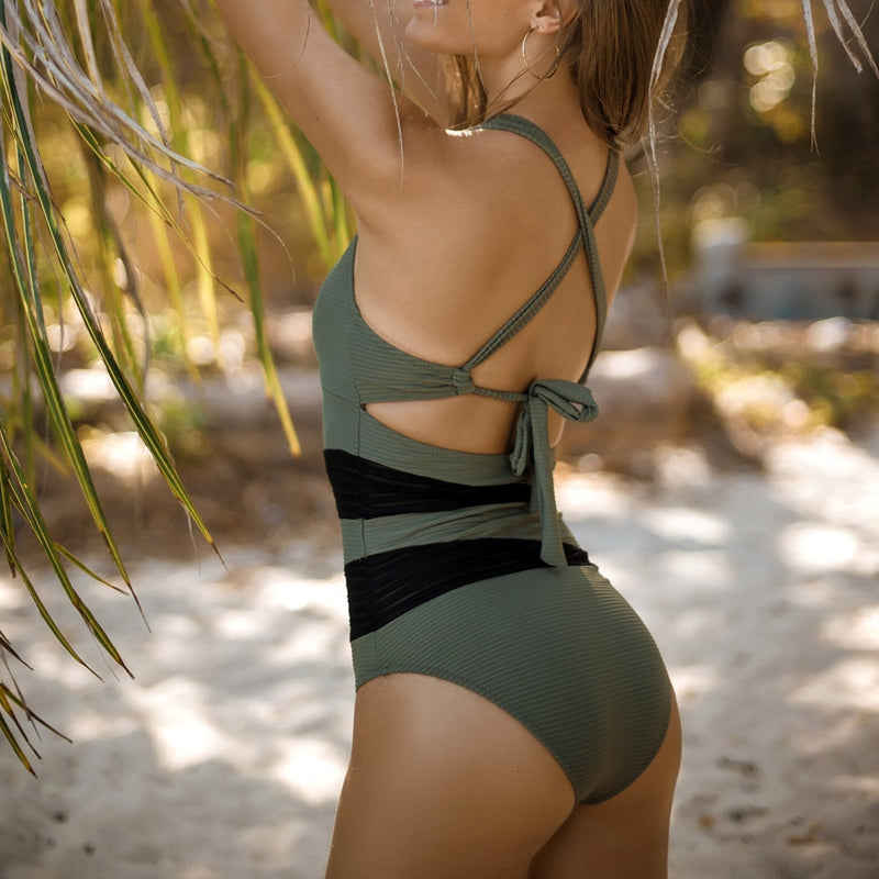 Olive Green Back Tie Patchwork One-piece