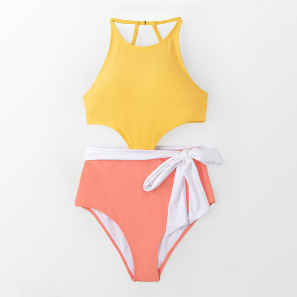 Yellow And Pink Color Block One-piece