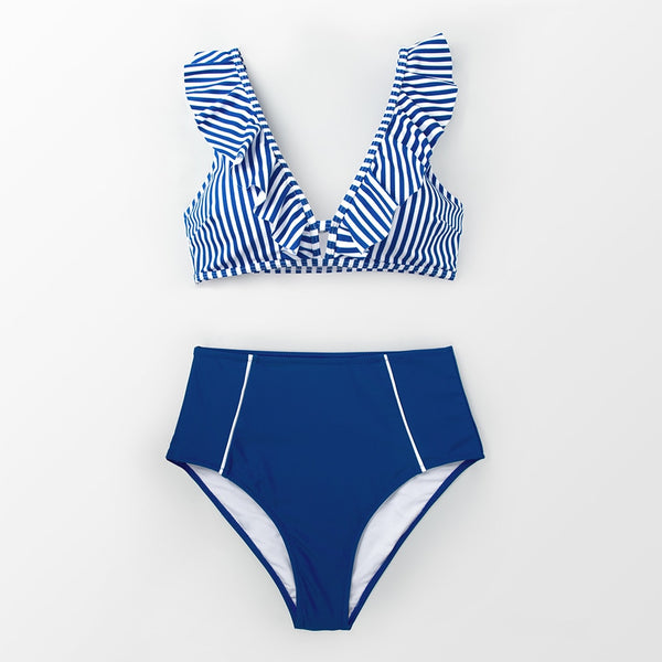 Blue Striped And High Waisted Ruffles Bikini Set