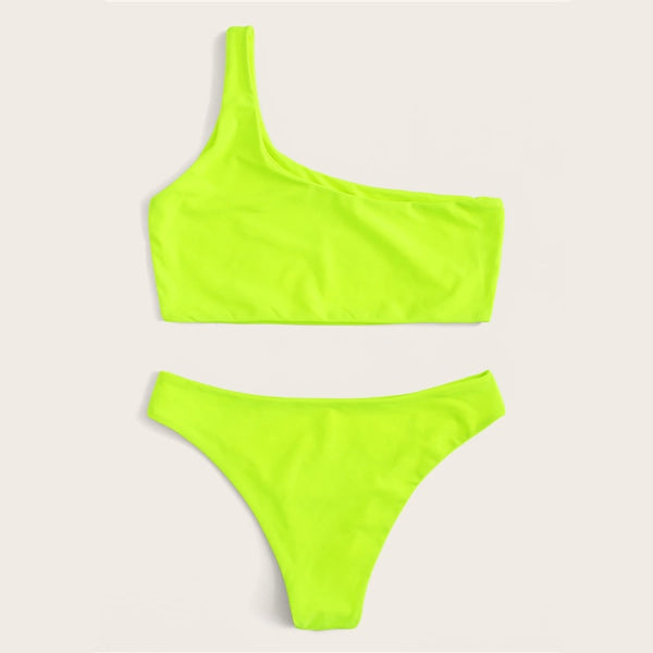 Neon Yellow One Shoulder Bikini Set