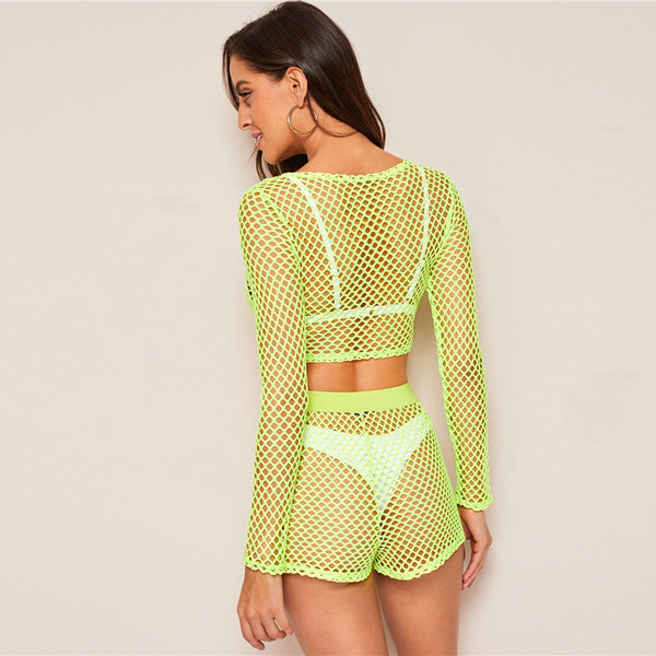 Neon Green Lime Fishnet Top And Shorts Two Piece