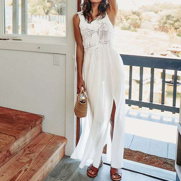 Solid White Long Crochet Slit Cover Up