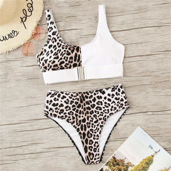 Leopard Buckle Wireless Bra With High Waist Bikini Set