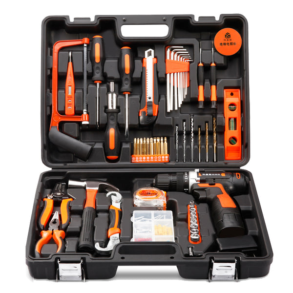Household Tools Set with Cordless 16.8v Lithium Drill + (Extra lithium Battery + EXECUTIVE GIFT PACK)