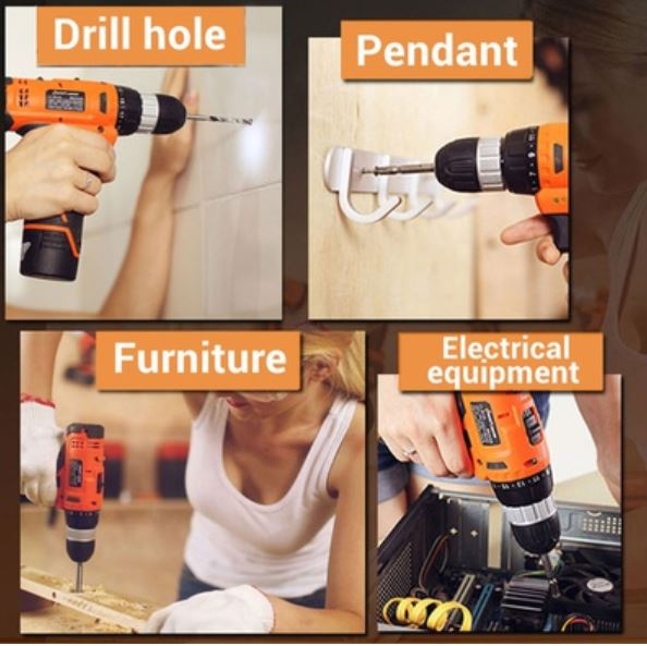 Household Tools Set with Cordless 12v Lithium Drill + (Extra lithium Battery + EXECUTIVE GIFT PACK)