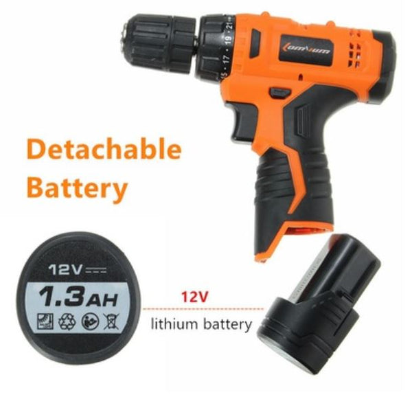 Household Tools Set with Cordless 12v Lithium Drill +( Extra Lithium Battery)
