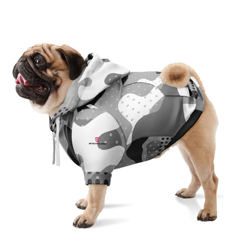 Gray Camouflage Fashion Dog Zip-Up Hoodie - AOP Worn By Pug