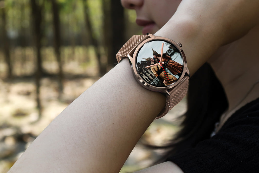 Rose gold watch worn by a girl