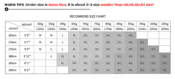 Size Chart Leather Jacket