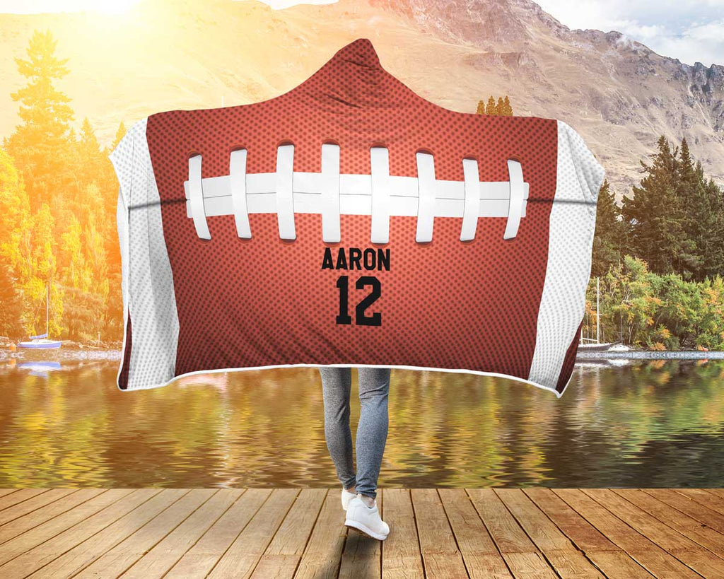 Personalized American Football Top Hooded Blanket