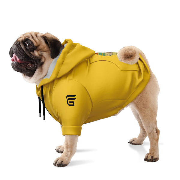 Bulldog wearing Fashion Dog Zip-Up Yellow Hoodie - AOP