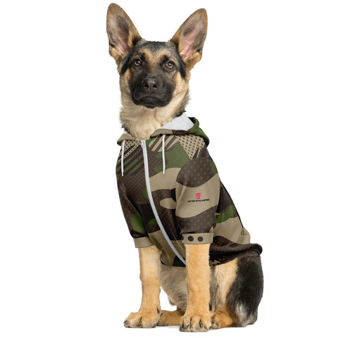 Brown Camouflage Fashion Dog Zip-Up Hoodie - AOP Worn By German Shepherd