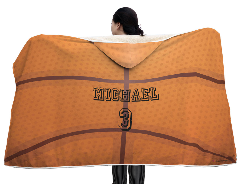 personalized basketball hooded blanket