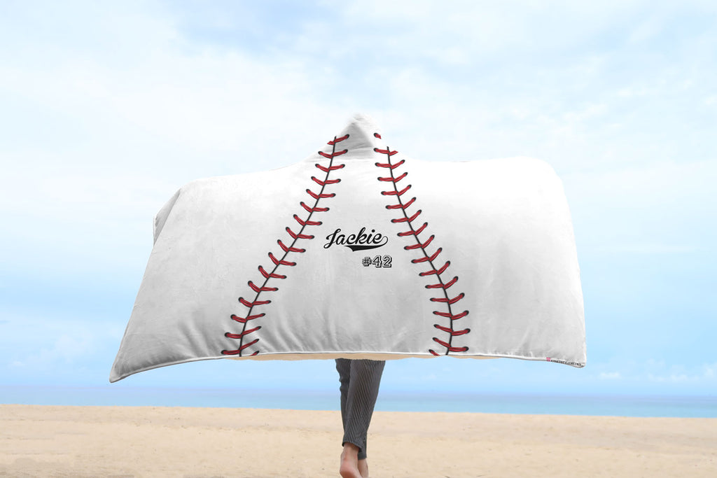 white softball hooded blanket