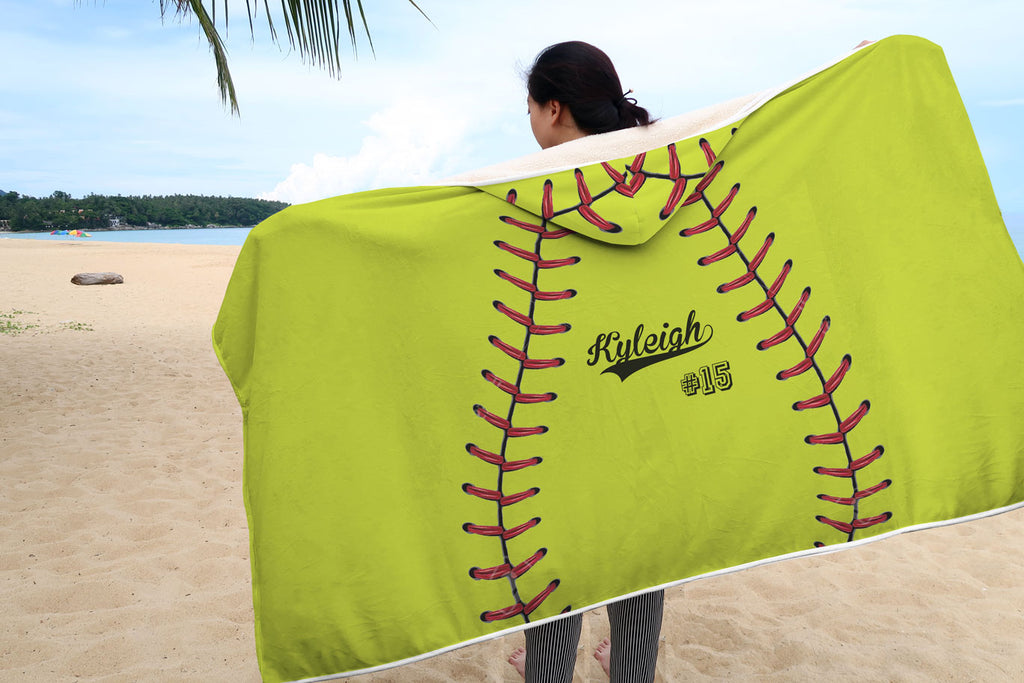 Personalized Yellow Softball Hooded Blanket