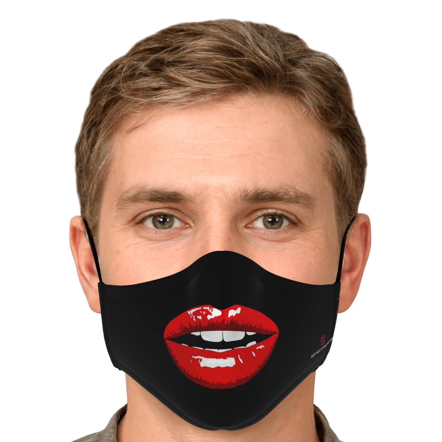 Red Lips Fashion Face Mask With PM 2.5 Carbon Filter - Get Set Style Metro